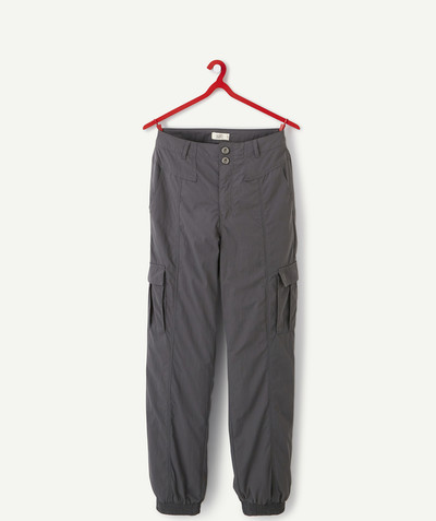 All collection radius - CHARCOAL CARGO TROUSERS IN CANVAS