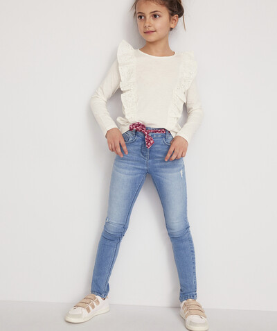 Total denim look radius - SUPER-SKINNY STONEWASHED JEANS WITH A PRINTED BELT