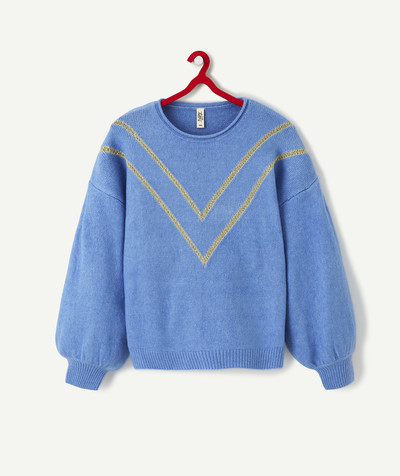 All collection Sub radius in - NAVY BLUE OVERSIZE KNIT JUMPER WITH GOLDEN CHEVRONS