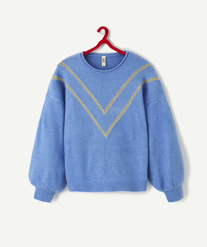 Pullover - Cardigan Sub radius in - NAVY BLUE OVERSIZE KNIT JUMPER WITH GOLDEN CHEVRONS