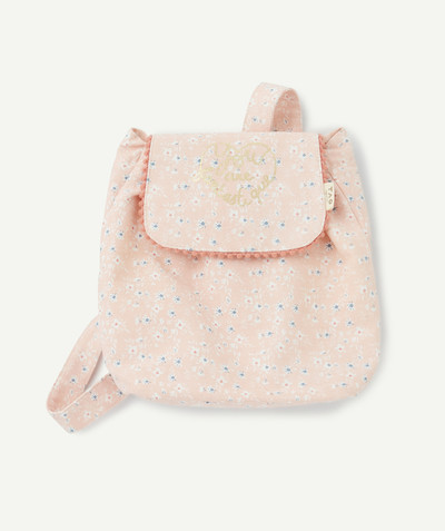 Baby-girl radius - SUPPLE PINK FLOWER-PATTERNED BACKPACK