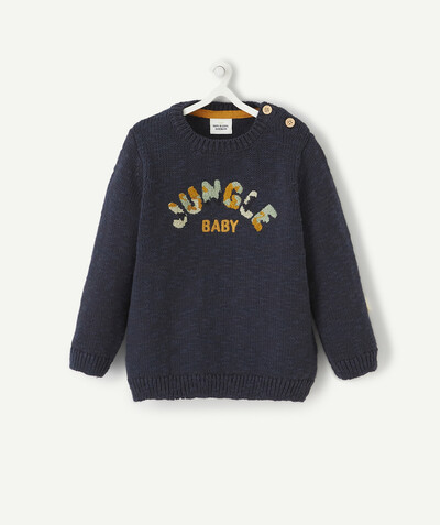 All collection radius - NAVY BLUE KNIT JUMPER WITH BOUCLE