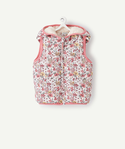 Coat - Padded jacket - Jacket radius - SLEEVELESS FLOWER-PATTERNED JACKET WITH RECYCLED PADDING