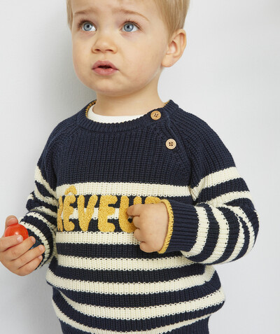 All collection radius - STRIPED KNIT JUMPER WITH MESSAGE IN BOUCLE