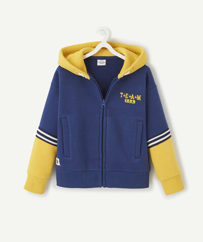 Sweatshirt radius - BLUE AND YELLOW ZIPPED, HOODED SWEATSHIRT IN ORGANIC COTTON