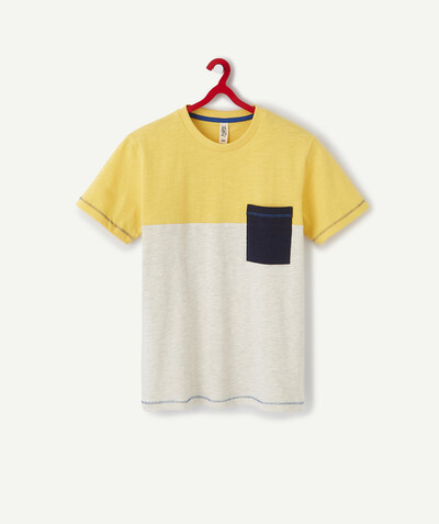 T-shirt radius - YELLOW COLOUR BLOCK T-SHIRT IN ORGANIC COTTON