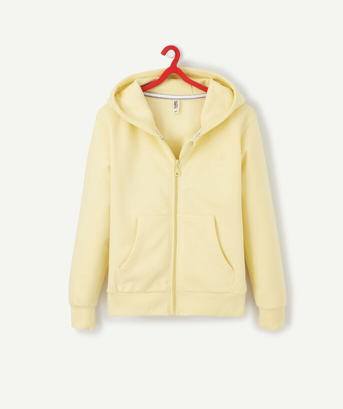 Sportswear Sub radius in - PASTEL YELLOW ZIPPED HOODED SWEATSHIRT