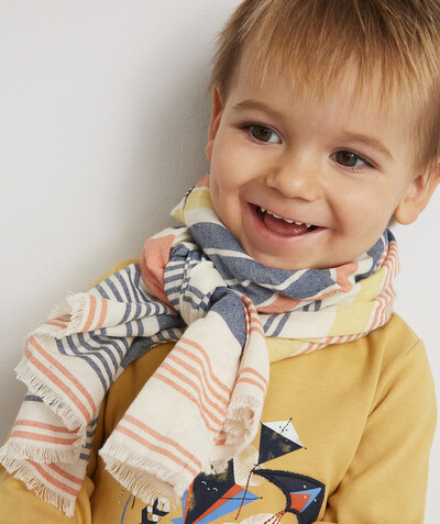 Baby-boy radius - STRIPED SCARF WITH FRAYED EDGES