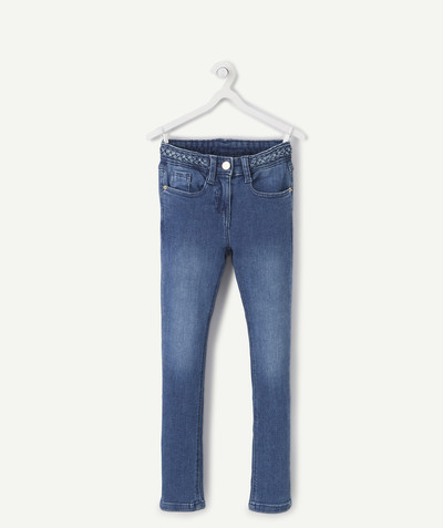 Total denim look radius - SKINNY STONEWASHED JEANS WITH A PLAITED WAIST