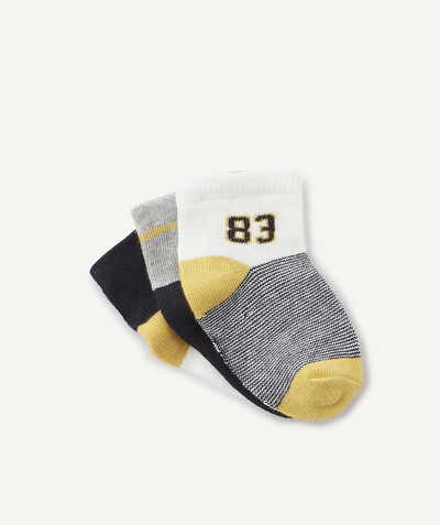 All collection radius - THREE PAIRS OF YELLOW AND NAVY BLUE SOCKS