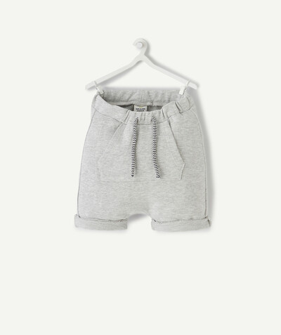 Shorts - Bermuda shorts family - GREY HAREM-STYLE BERMUDA SHORTS IN ORGANIC COTTON