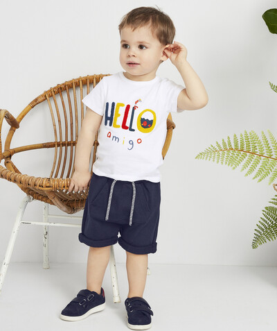 Shorts - Bermuda shorts family - NAVY BLUE HAREM-STYLE BERMUDA SHORTS IN ORGANIC COTTON
