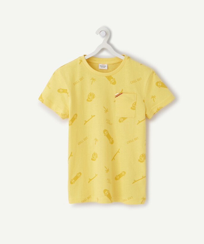 T-shirt  radius - YELLOW T-SHIRT IN ORGANIC COTTON WITH A SKATER PRINT