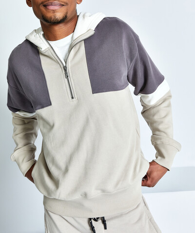 Outlet radius - NATURAL COLOUR BLOCK SWEATSHIRT IN ORGANIC COTTON