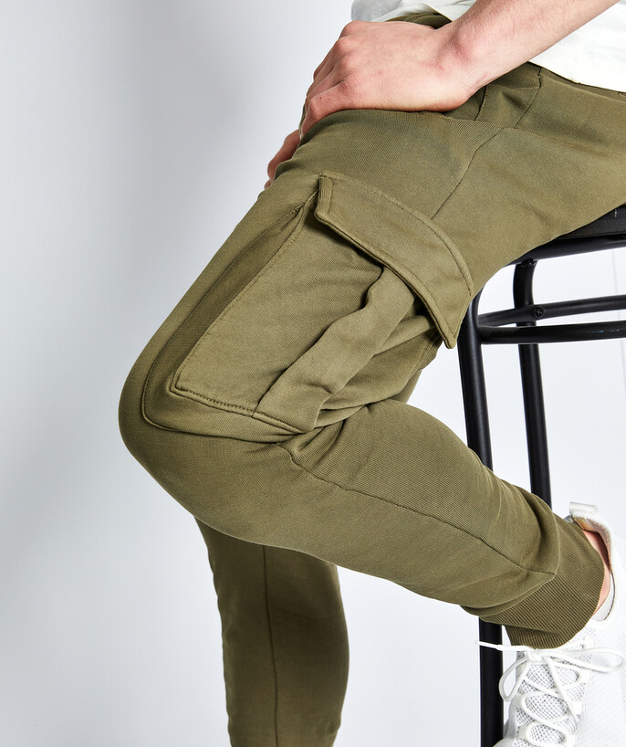 Trousers - Jeans Sub radius in - KHAKI CARGO JOGGING PANTS IN ORGANIC COTTON