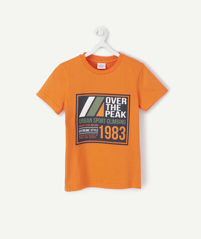 Sportswear radius - ORANGE FLOCKED T-SHIRT IN ORGANIC COTTON