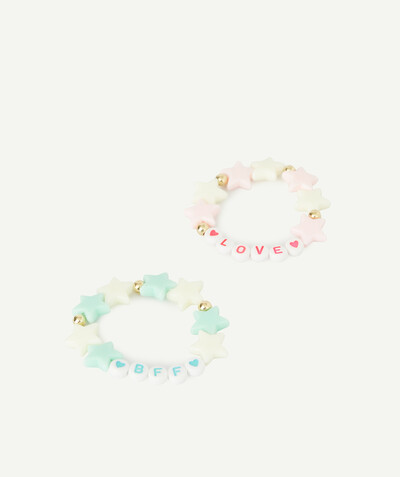 Special occasions' accessories radius - TWO ELASTICATED BRACELETS WITH PINK AND BLUE BEADS