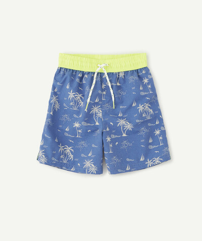 Swimwear family - BLUE SWIMMING TRUNKS WITH A PALM TREE PRINT