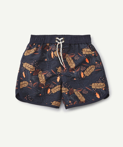 Swimwear family - NAVY BLUE SWIMSUIT PRINTED WITH FISH AND LEAVES