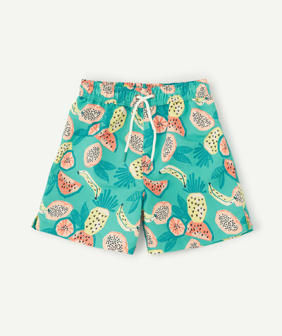 Swimwear family - GREEN SWIMMING SHORTS WITH A FRUIT PRINT