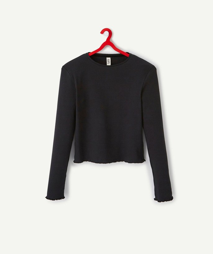 T-shirt - Shirt radius - BLACK T-SHIRT IN A RIBBED KNIT