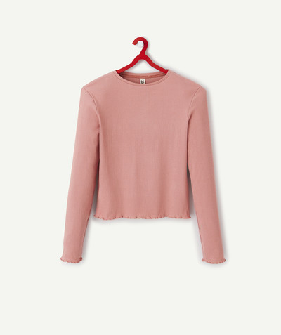 Outlet radius - OLD ROSE T-SHIRT IN A RIBBED KNIT
