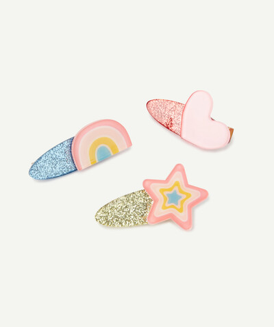 Special occasions' accessories radius - SET OF THREE SPARKLING, COLOURED HAIR SLIDES