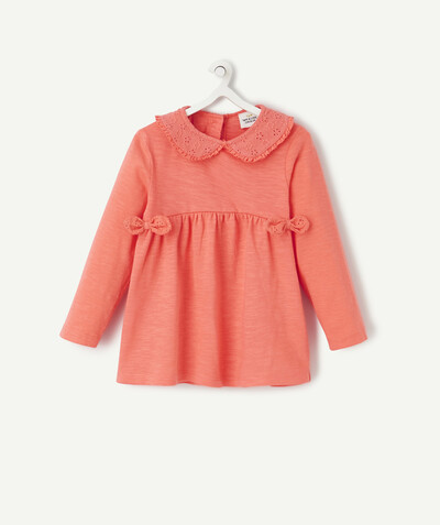 Spring looks ideas radius - PINK T-SHIRT IN ORGANIC COTTON WITH A PETER PAN COLLAR