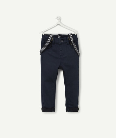 All collection radius - SLIM NAVY BLUE TROUSERS WITH BRACES
