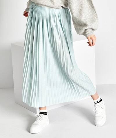 All collection radius - LIGHT BLUE PLEATED SKIRT IN JERSEY
