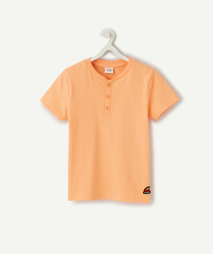 ECODESIGN radius - ORANGE T-SHIRT IN ORGANIC COTTON WITH BUTTONS