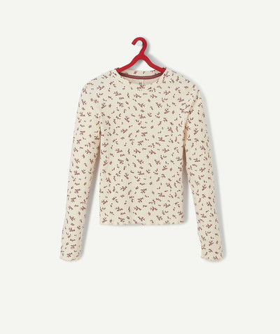 Tee-shirt radius - PINK RIBBED AND FLOWER-PATTERNED T-SHIRT IN ORGANIC COTTON