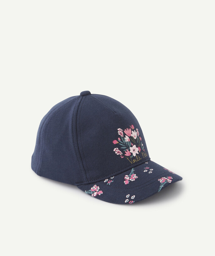 Accessories radius - NAVY BLUE CAP WITH EMBROIDERED FLOWERS
