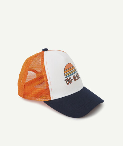 Collection plage Rayon - LA CASQUETTE FILET ORANGE BLEU MARINE ET BLANCHE