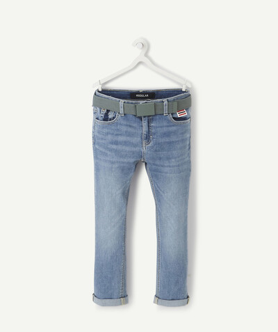Trousers size + radius - SIZE+ STONEWASHED STRAIGHT JEANS WITH A KHAKI BELT