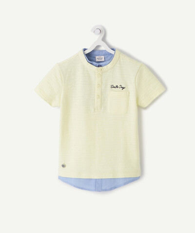 T-shirt  radius - YELLOW TWO-IN-ONE EFFECT COTTON POLO SHIRT