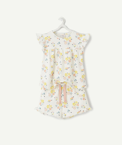 Nightwear radius - FLOWER-PATTERNED SHORT PYJAMAS IN ORGANIC COTTON