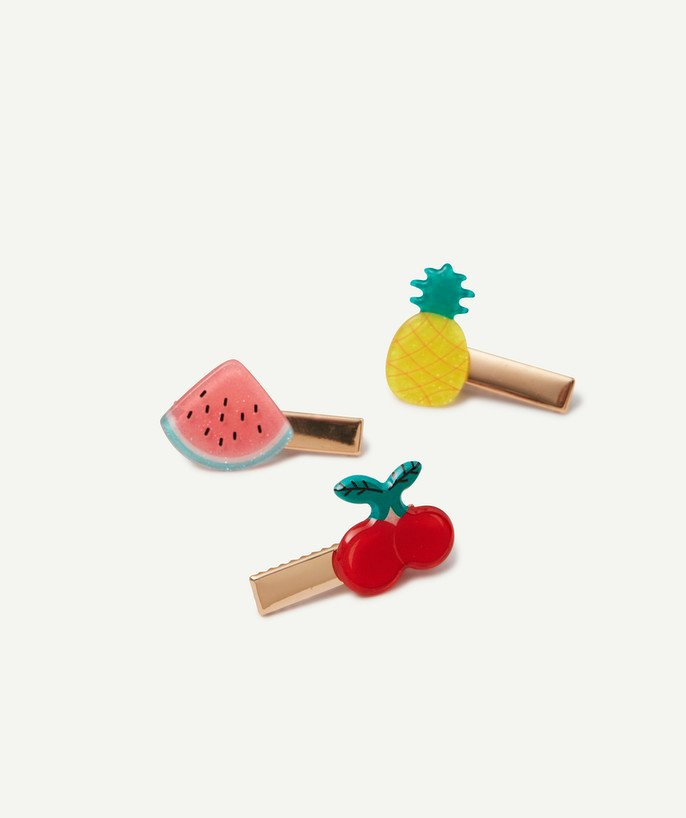 Baby-girl radius - THREE GOLDEN HAIR CLIPS WITH COLOURED FRUITS