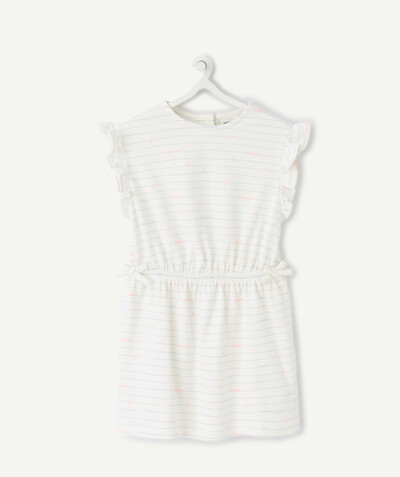 Basics radius - WHITE STRIPED DRESS IN ORGANIC COTTON