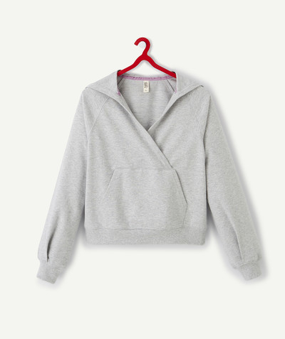 Sweat Rayon - LE SWEAT À CAPUCHE GRIS COL CROISÉ