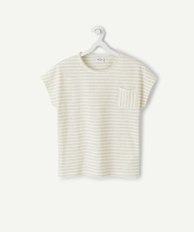 Spring looks ideas radius - CREAM T-SHIRT WITH GOLDEN STRIPES IN ORGANIC COTTON