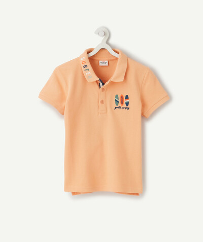 Shirt - Polo radius - ORANGE COTTON PIQUE POLO SHIRT WITH EMBROIDERY