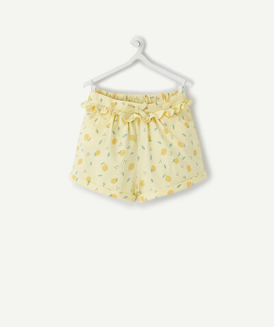 Basics radius - PASTEL YELLOW PRINTED SHORTS IN ORGANIC COTTON