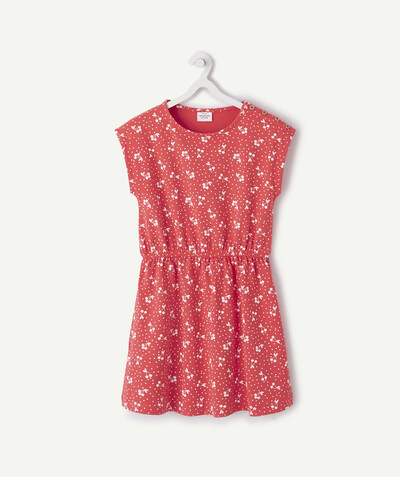 Dress radius - CORAL DRESS PRINTED WITH SPOTS AND CHERRIES