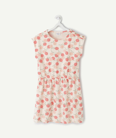 Dress radius - DRESS IN STRETCH COTTON WITH A PEACH PRINT