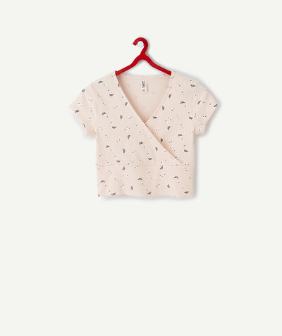 ECODESIGN radius - PINK PRINTED CROPPED CROSS-OVER T-SHIRT