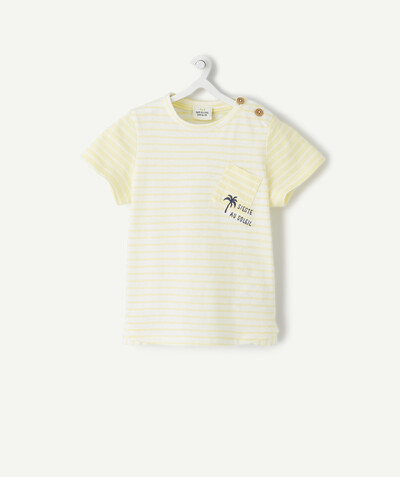 Special Occasion Collection radius - YELLOW AND WHITE STRIPED T-SHIRT IN ORGANIC COTTON