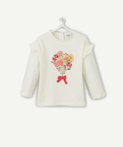 Spring looks ideas radius - WHITE BOUQUET OF FLOWERS T-SHIRT IN ORGANIC COTTON