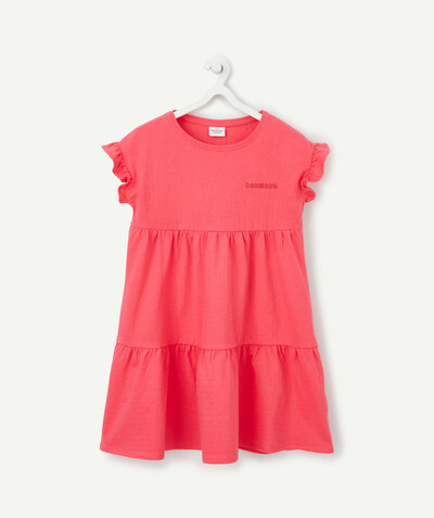 Dress radius - LA ROBE ROSE FUCHSIA À VOLANTS EN COTON AJOURÉ