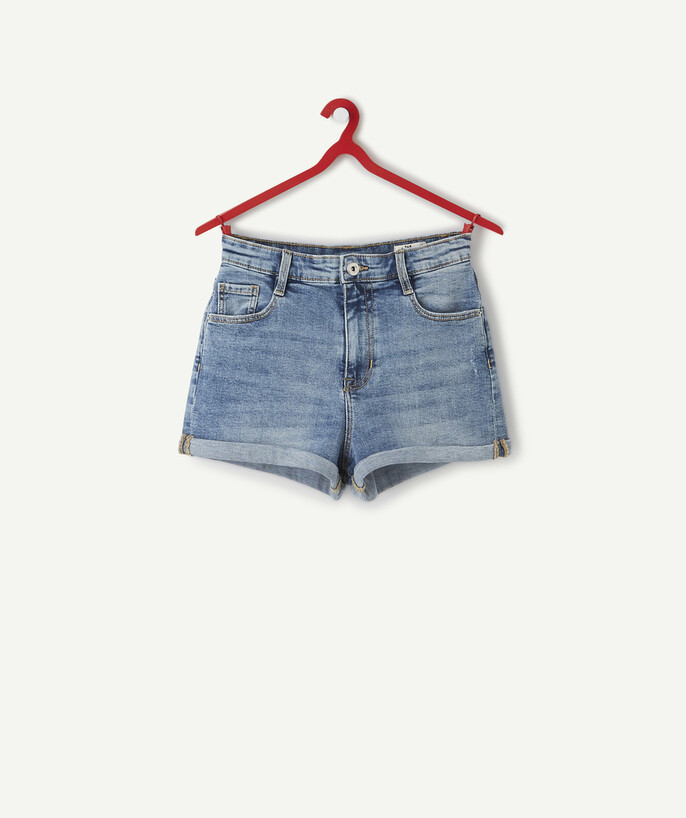 ECODESIGN teen girl Sub radius in - HIGH-WAISTED SHORTS IN STONEWASHED DENIM